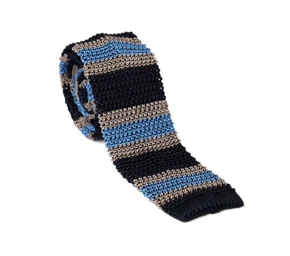 Regent Knitted Silk Tie - Navy, Grey and Sky Blue Stripe