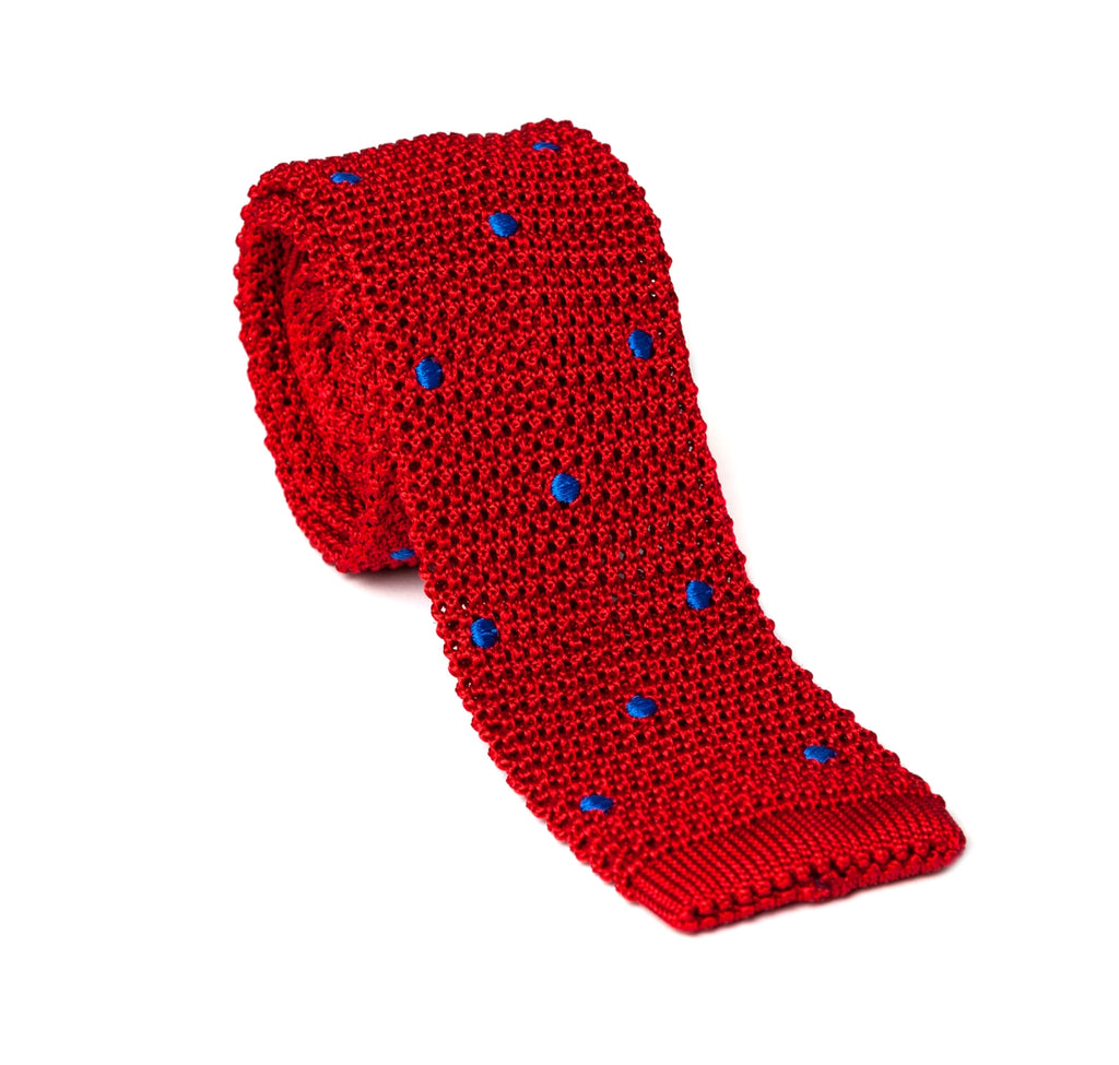 Regent - Knitted Silk Tie - Red with Blue - Spot - Regent Tailoring