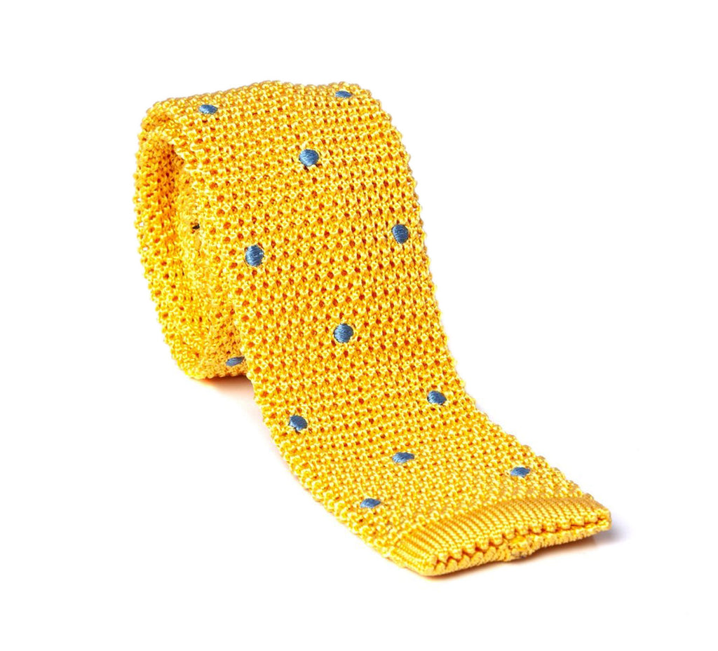 Regent - Knitted Silk Tie - Yellow with Blue - Spot - Regent Tailoring