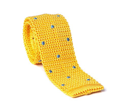 Regent - Knitted Silk Tie - Yellow with Blue - Spot