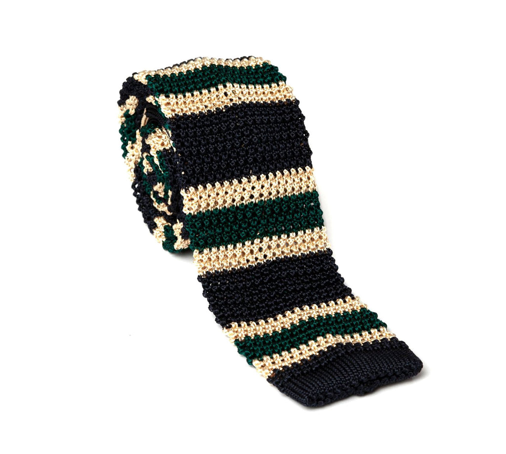 Regent - Silk Knitted Tie - Green, Cream and Navy - Stripe - Regent Tailoring