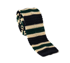 Regent - Silk Knitted Tie - Green, Cream and Navy - Stripe