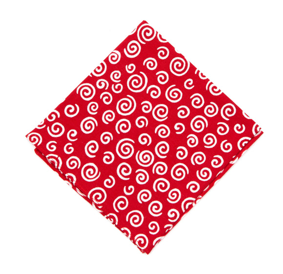 Niwaki Cotton Handkerchief - Red / Swirls