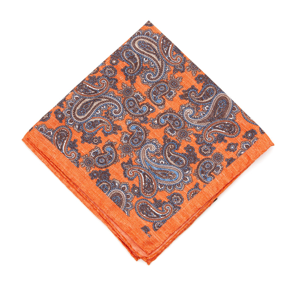 Regent - Silk Pocket Square - Orange / Paisley - Regent Tailoring
