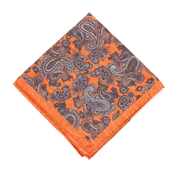 Regent Silk Pocket Square - Orange / Paisley