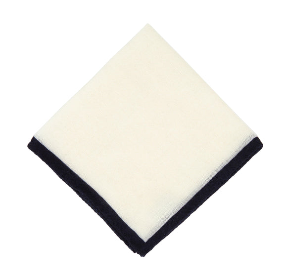 Regent Italian Wool Pocket Square - White / Deep Navy Border