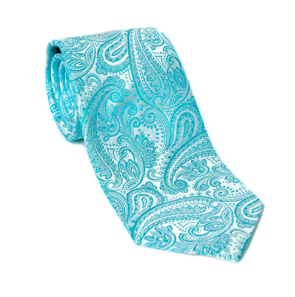 Regent - Woven Silk Tie - Silver and Blue Paisley - Regent Tailoring