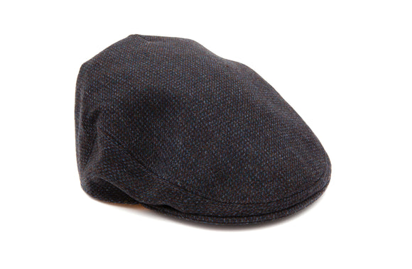 Regent Tweed Flat Cap - Grey w/ Blue Fleck