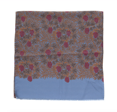 Regent - Ladies Scarf - Silk - Dusk Blue with Berries