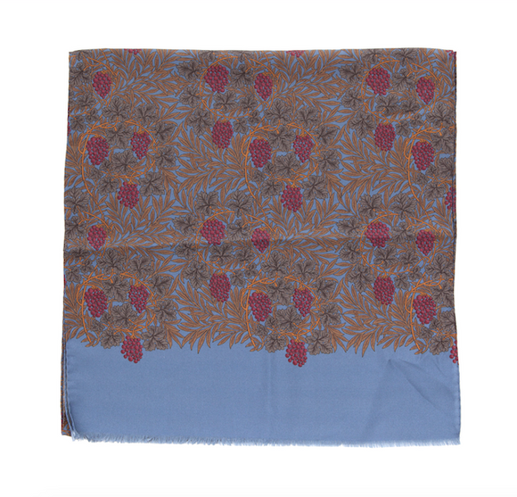 Regent Silk Scarf - Dusk Blue with Berries