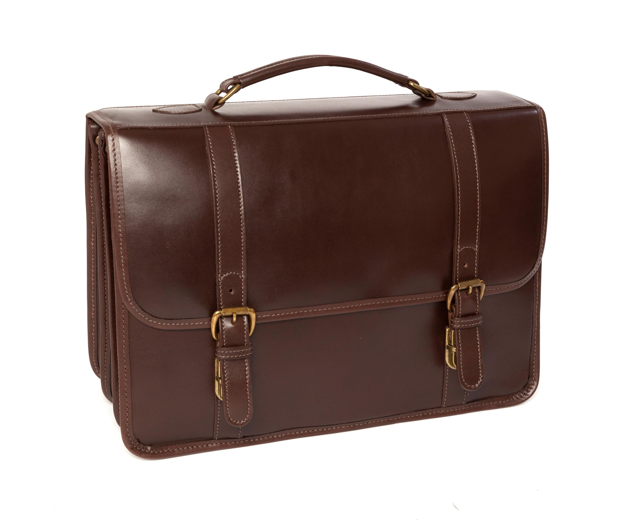 Tusting Buckingham Leather 3-Bellows Briefcase - Dark Brown Miret Bridle - Regent Tailoring