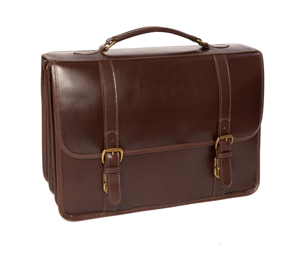 Tusting Buckingham Leather 3-Bellows Briefcase - Dark Brown Miret Bridle