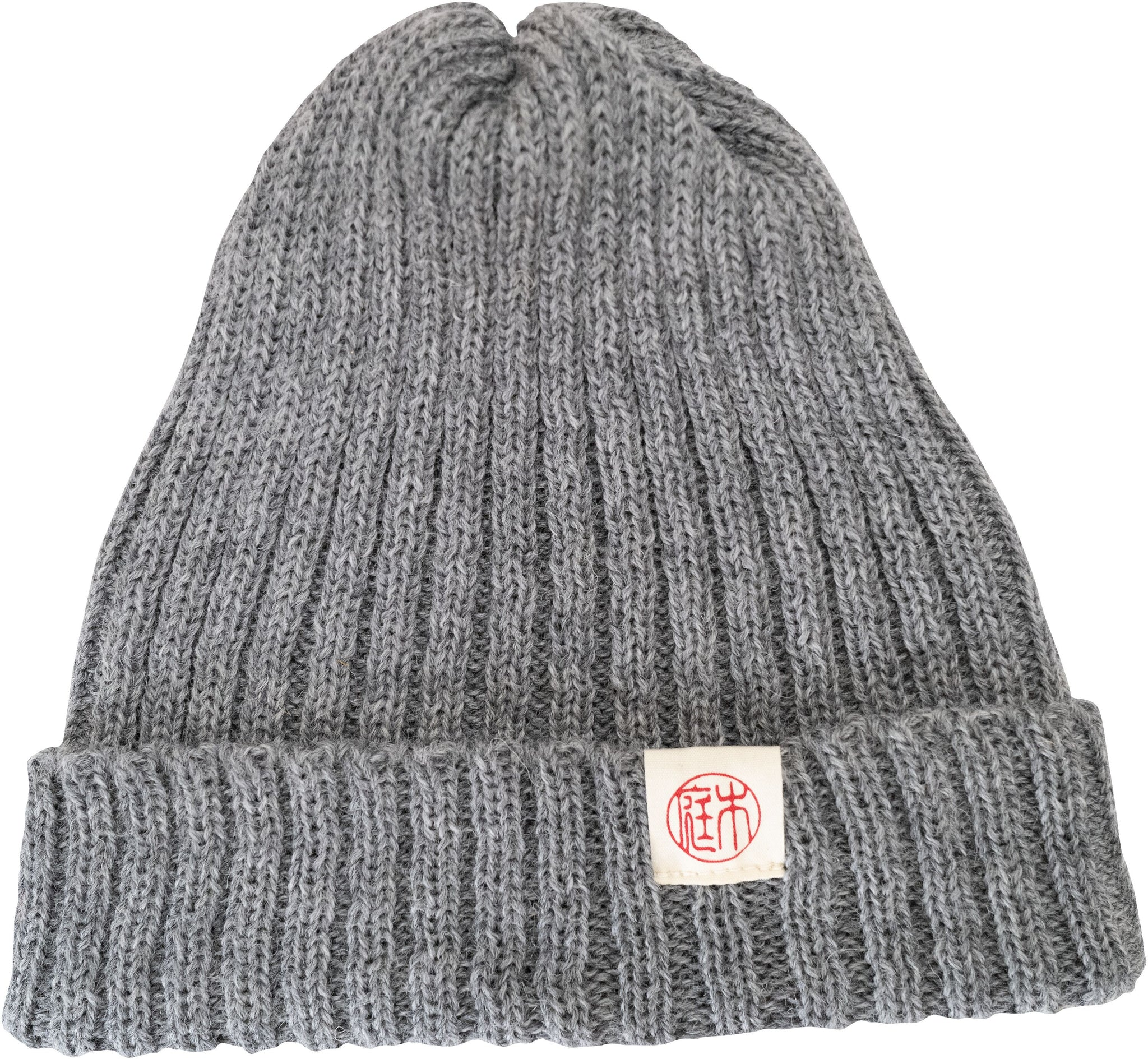 Raw unrefined and unprocessed wool beanie hat by authentic Japanese brand Niwaki, in mouse grey featuring ribbing and Niwaki 'hanko' logo.