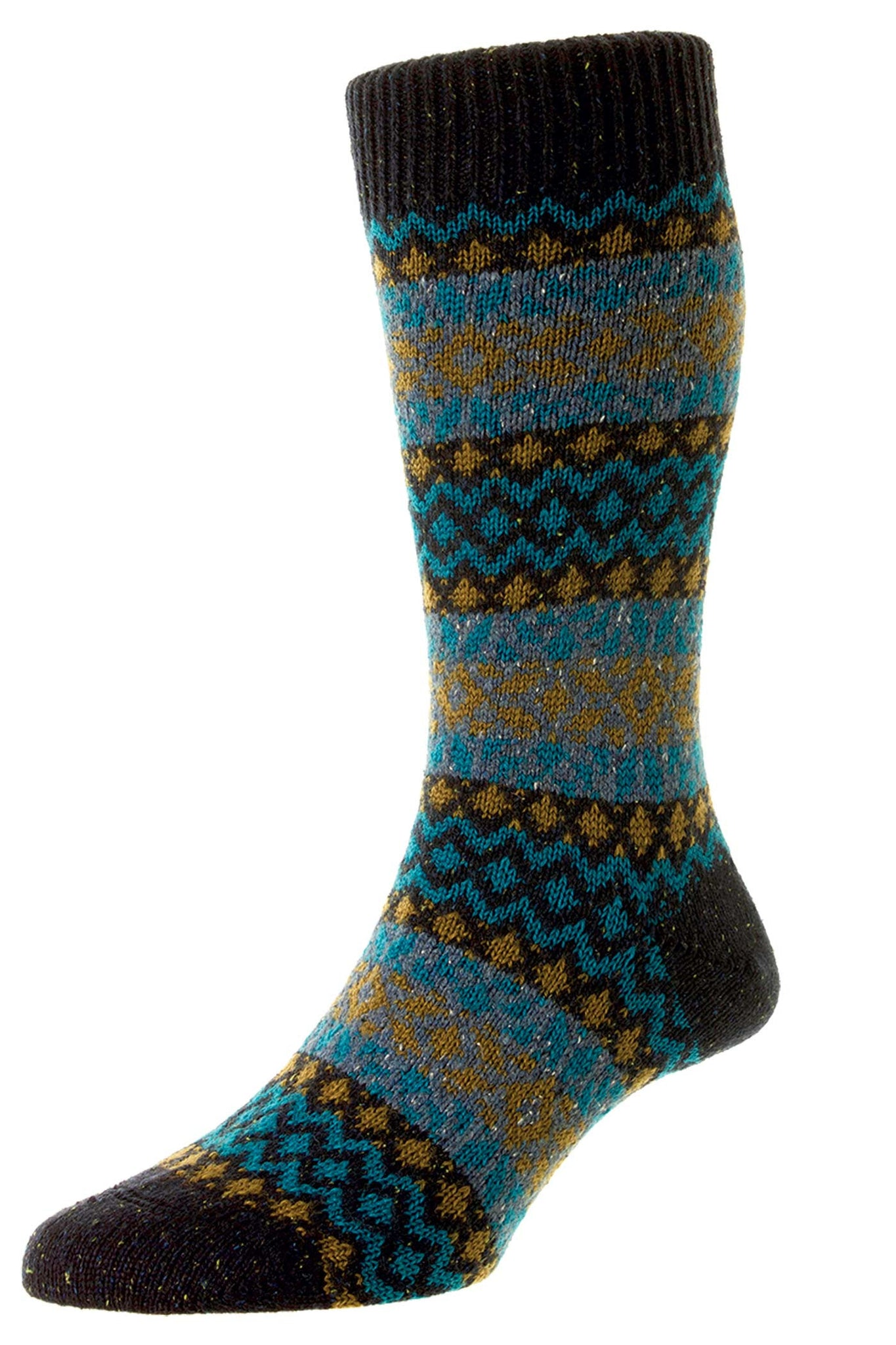 Wool-composite socks made in the UK by Heritage socks masters Scott-Nichol in navy and dark orange fairisle pattern.