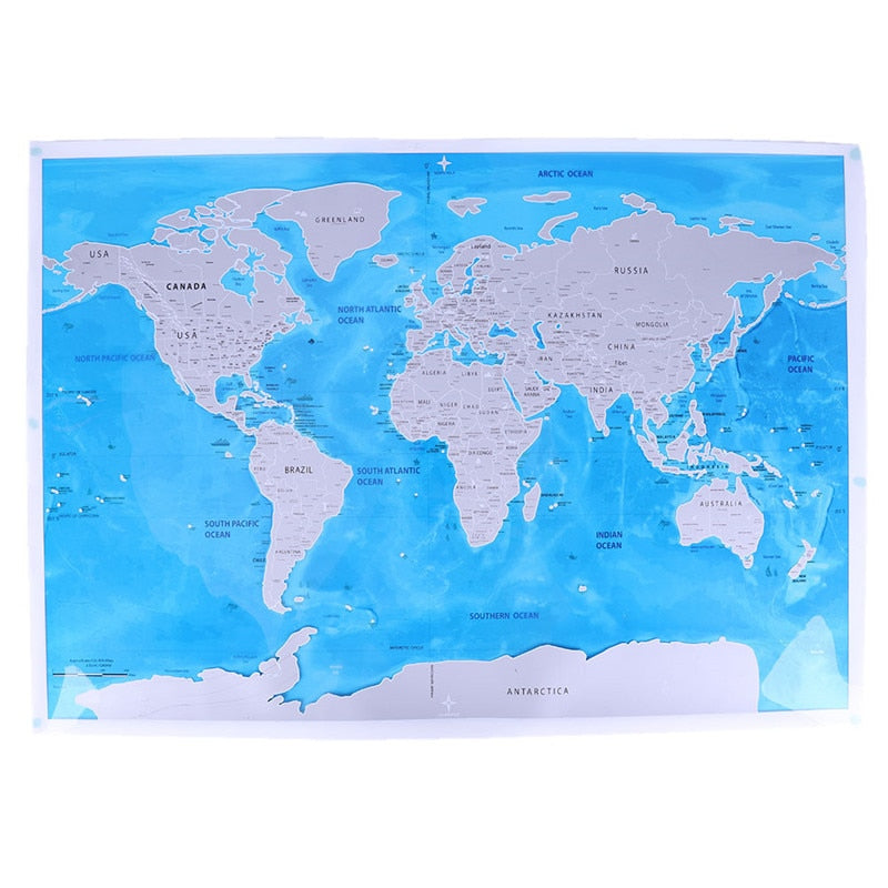 Scratch-off World Map with Oceans