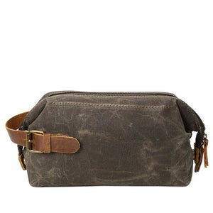 Waterproof Oil Wax Canvas and Genuine Leather Travel Toiletry Bag