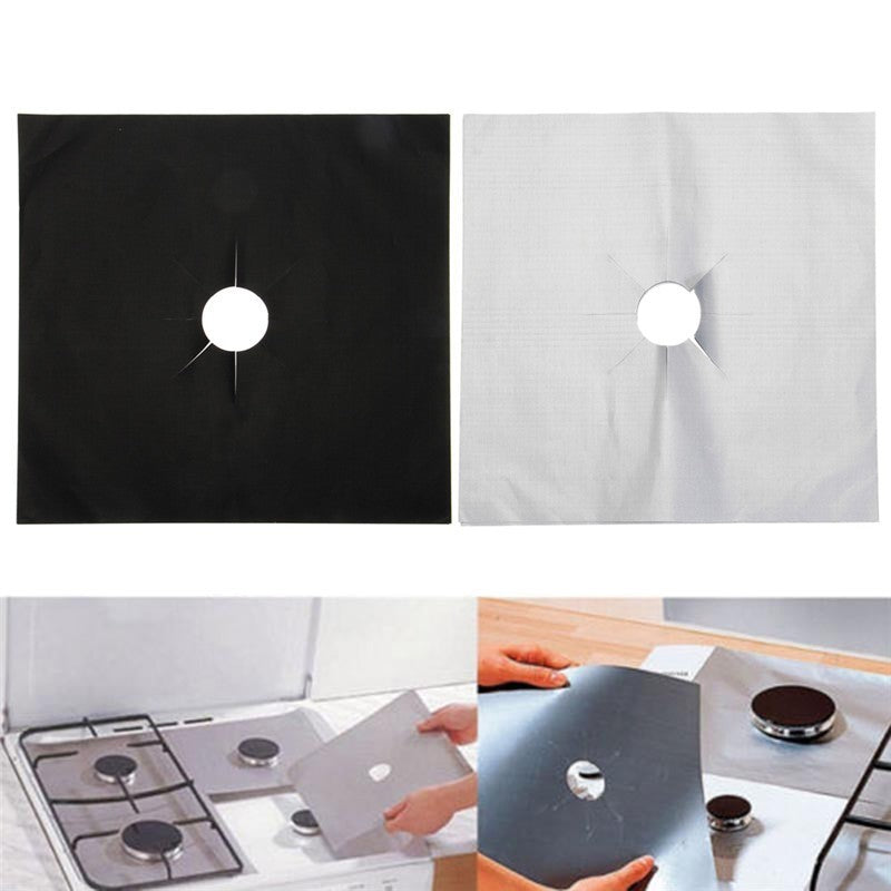 4Pcs Reusable Foil Stovetop Burner Protector