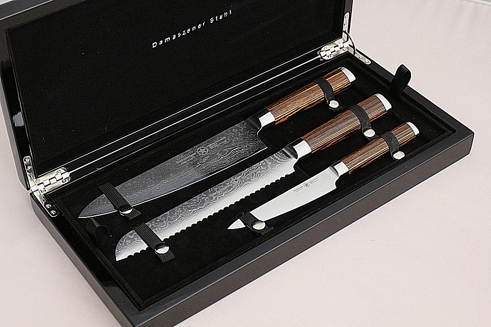 Sternsteiger 3pcs damascus knife set  japanese damascus steel VG-10 - SPITZEN-STERN GOLD SERIES