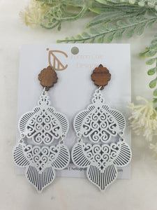 Moroccan inspired wooden white earrings. Made from queensland walnut. hypoallergenic posts