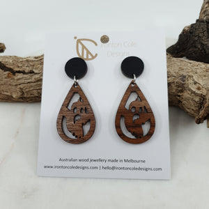 Ghost wooden earrings