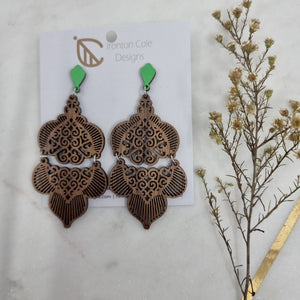 Double moroccan wooden earrings