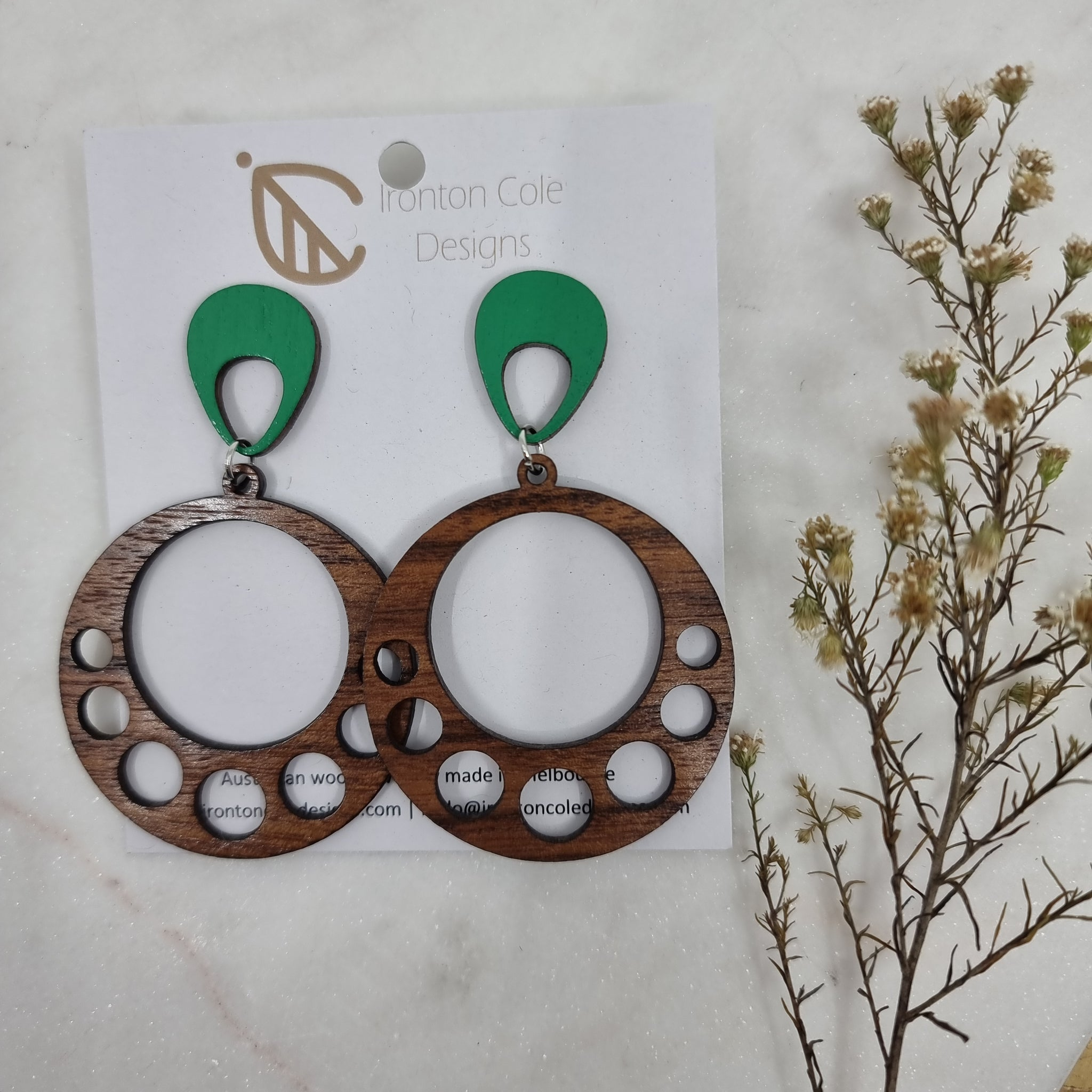 Double circle wooden earrings