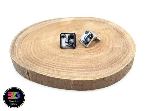 black and white face cufflinks by three zs gallery