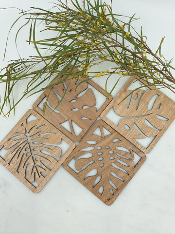 Wooden Monstera leaf coasters