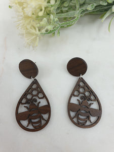 Bee and hive wooden earrings