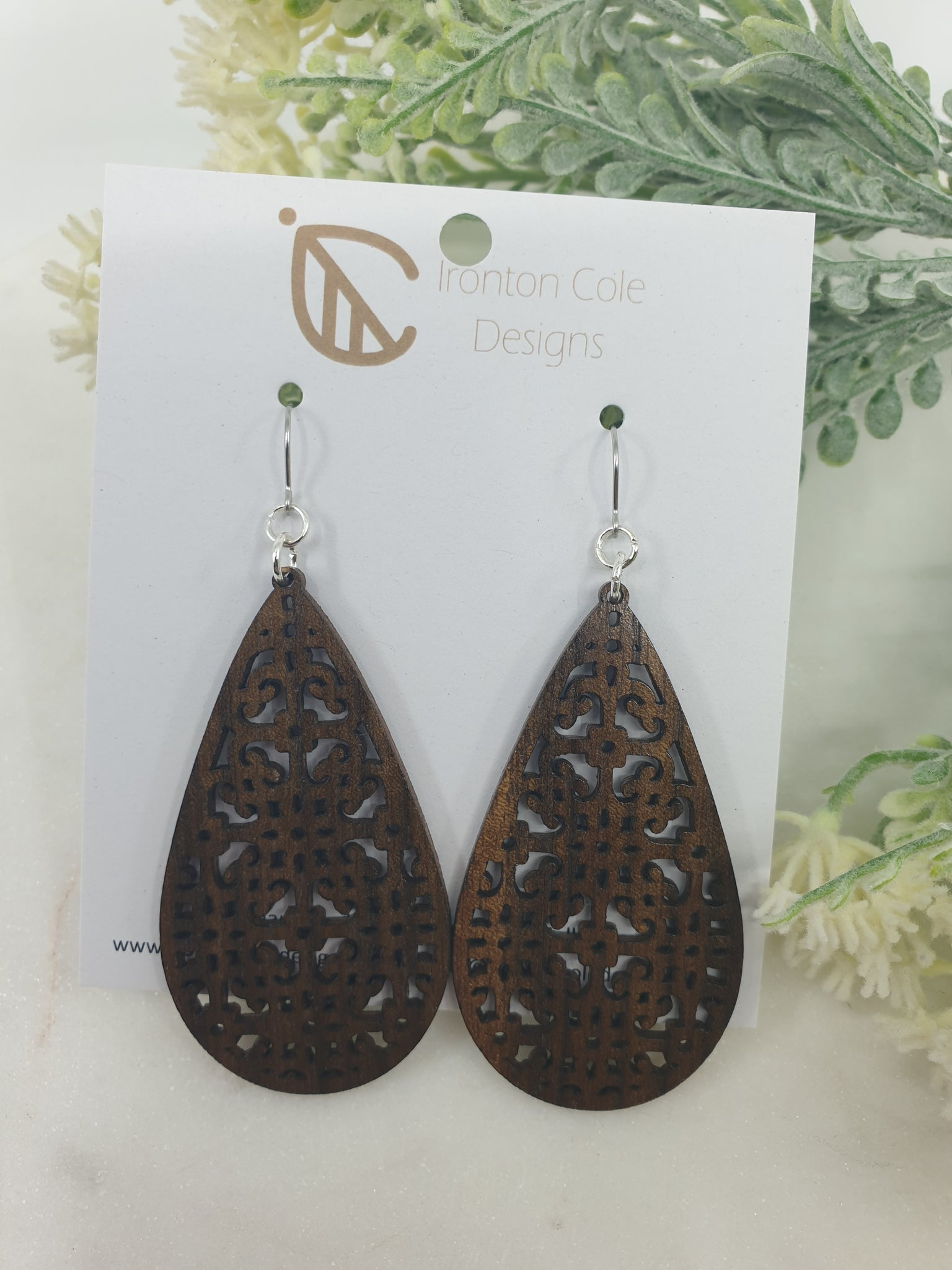 Moroccan inspired patterned earrings with hypoallergenic silver hooks.