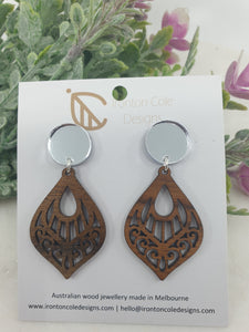 Boho patterned earrings with mirror acrylic