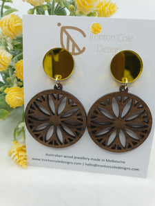 Wooden flower earrings and gold mirror acrylic