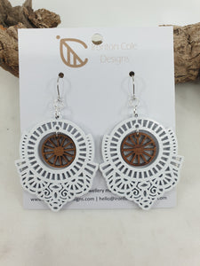 White boho patterned earrings