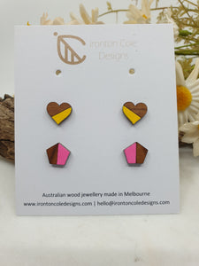 Wooden heart and geo studs