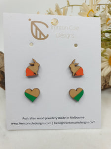 Wooden bunny and heart studs