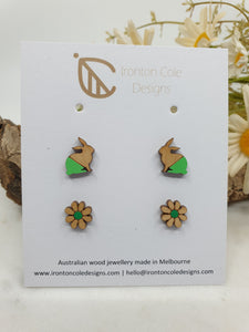 Little bunny and daisy flower wooden studs