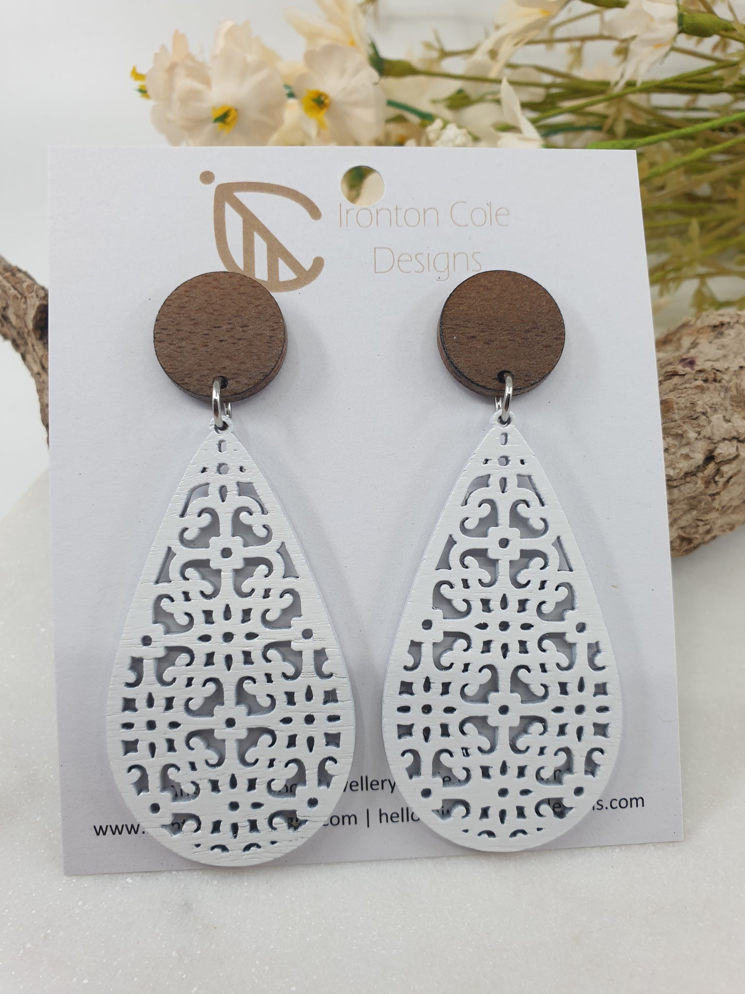 White boho wooden earrings