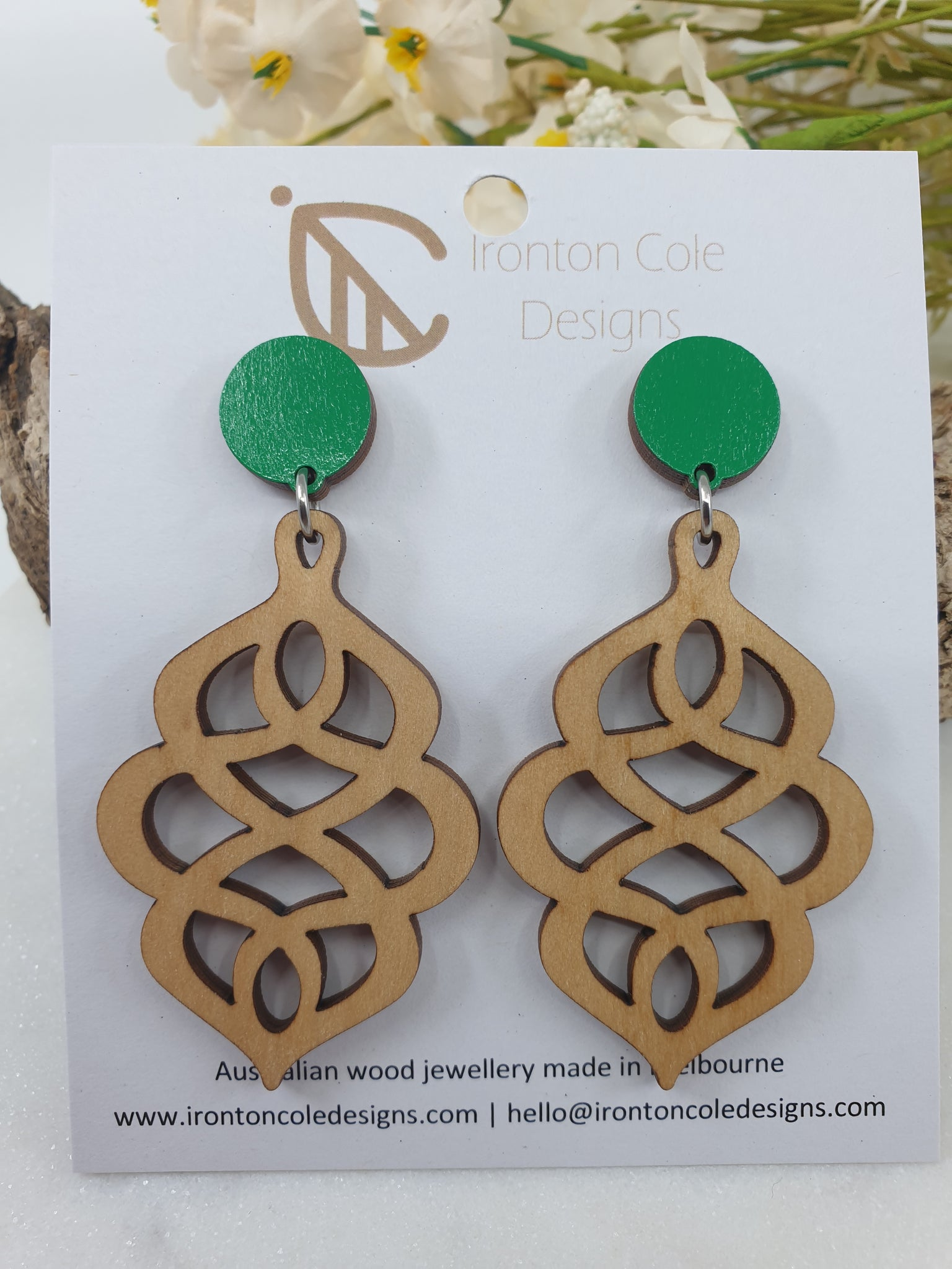 Loopy wooden earrings