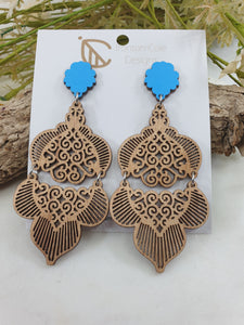 Double Moroccan patterned wood earrings
