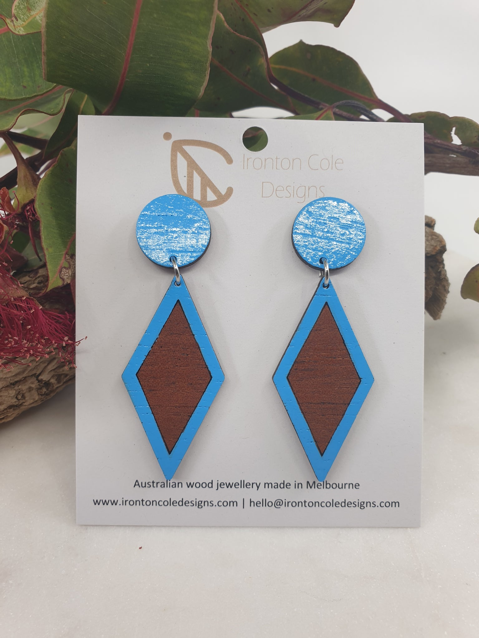 Bright blue wooden drop earrings