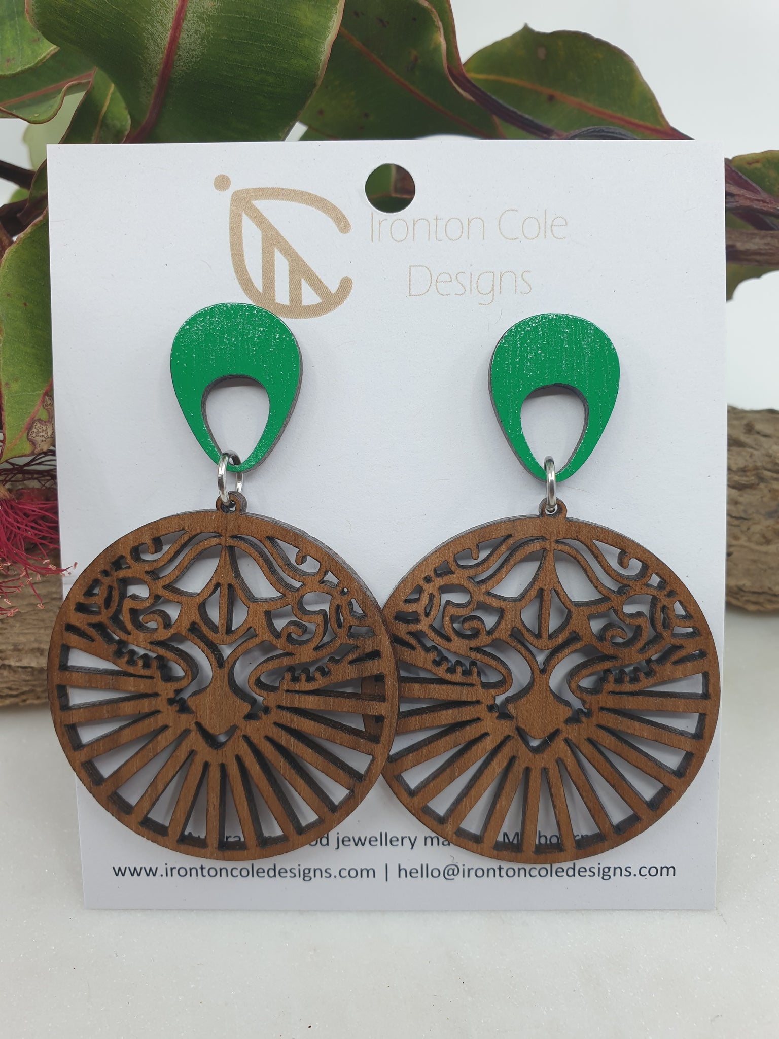 Lions face wooden earrings
