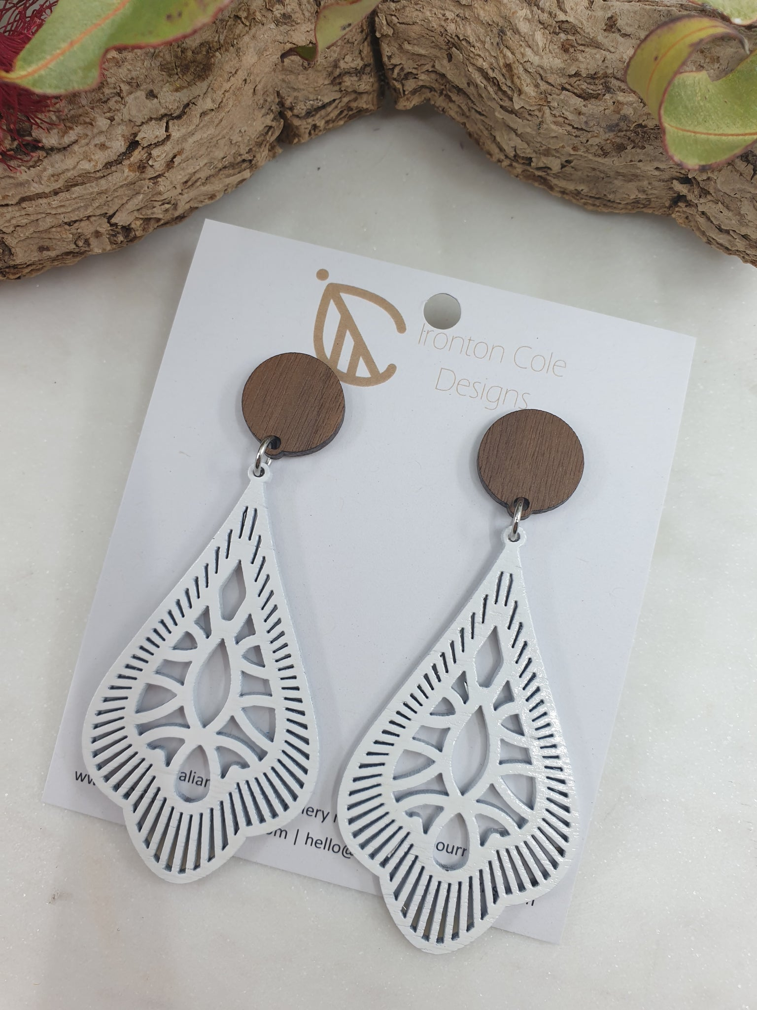 Wooden white tear drop earrings