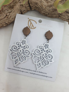 White butterfly wooden earrings