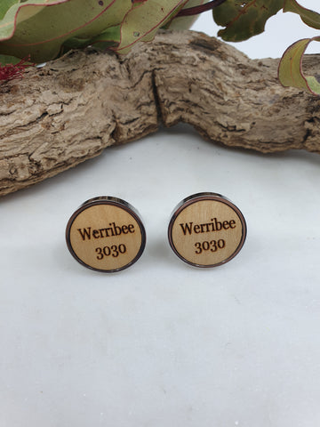 Werribee 3030 wood cufflinks