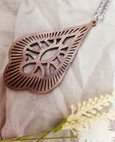 Boho wooden tear drop pendant