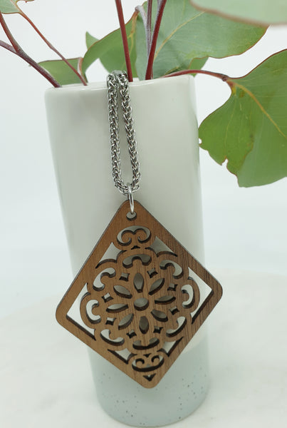 Flower wooden pendant