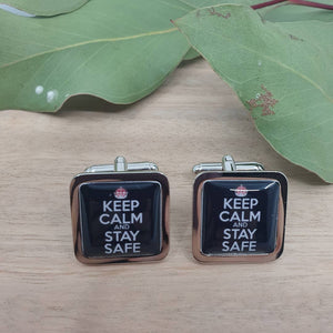 Keep calm and stay safe cufflinks