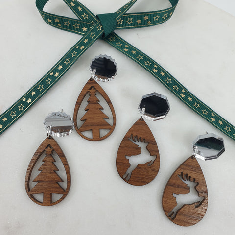 Christmas wooden earrings