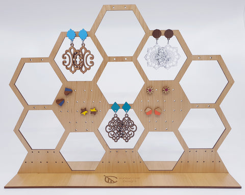 Honeycomb wooden earring stand