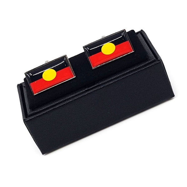 Aboriginal Flag cufflinks in a cufflink box by Three Zs Gallery